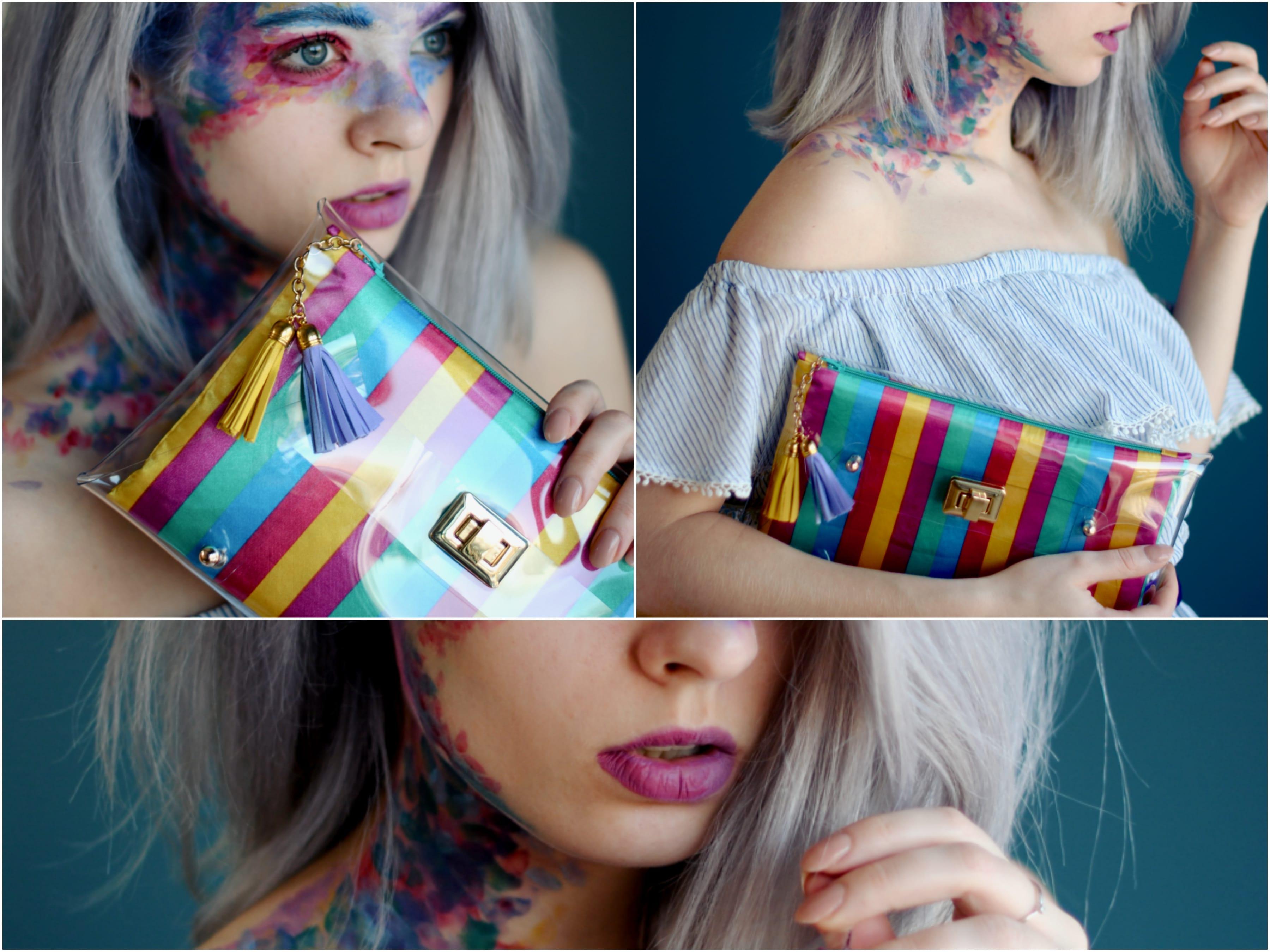 rainbow clutch bag - summer hand bags - handbags for summer - mardere