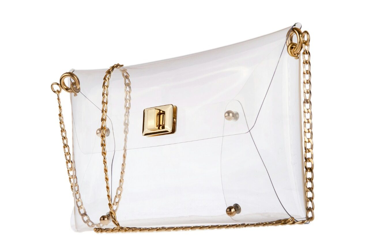 mardere clutch bag clear vinyl outer shell with removable golden chain